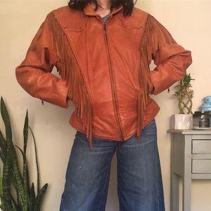 Vintage leather fringe jacket